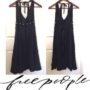 Free People black crochet detail midi dress
